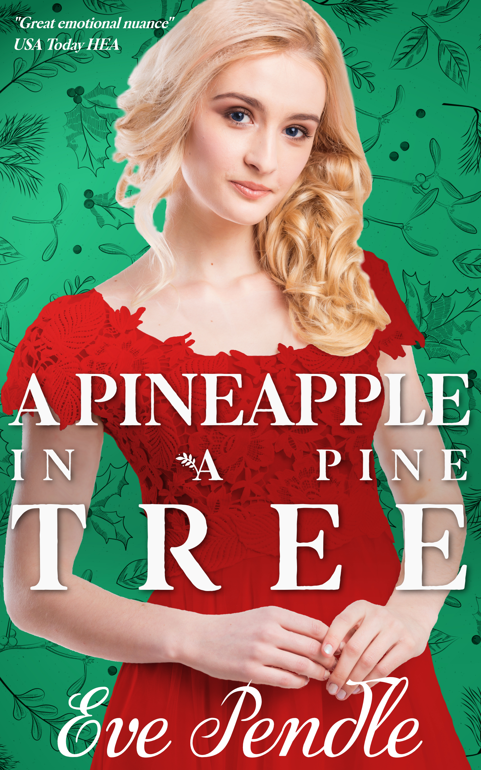 Book cover blonde with christmas background.